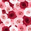 Seamless pattern with red and pink roses. Vector illustration. — Stok Vektör