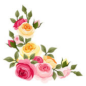 Pink and yellow vintage roses. Vector illustration. — ストックベクタ