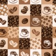 Seamless pattern with coffee beans and cups. Vector illustration. — Stock Vector