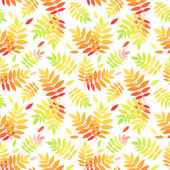 Seamless pattern with autumn colorful rowan leaves. Vector illustration. — Stock Vector