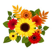 Autumn colorful flowers. Vector illustration. — Stock Vector