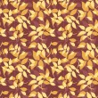 Seamless pattern with autumn leaves on purple. Vector illustration. — Stok Vektör