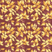 Seamless pattern with autumn leaves on purple. Vector illustration. — Stock Vector