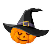 Jack-O-Lantern. Halloween pumpkin with black witches hat. Vector illustration. — Cтоковый вектор