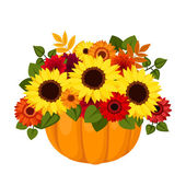 Autumn colorful flowers in pumpkin. Vector illustration. — Stock Vector