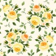 Stock Vector: Seamless pattern with yellow roses. Vector illustration.