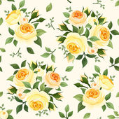 Seamless pattern with yellow roses. Vector illustration. — Stock Vector