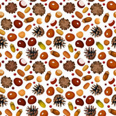 Autumn seamless background with various nuts. Vector illustration. — Stock Vector