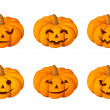 Jack-O-Lantern. Set of six Halloween pumpkins. Vector illustration. — Stok Vektör