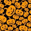 Seamless pattern with Jack-O-Lantern (Halloween pumpkins). Vector illustration.  — Stock Vector
