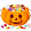 Halloween candies in Jack-O-Lantern bag. Vector illustration. — Stock Vector