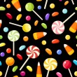 Stockvector : Seamless background with Halloween candies. Vector illustration.