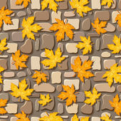Seamless background with autumn leaves on paving stones. Vector illustration. — Stock Vector