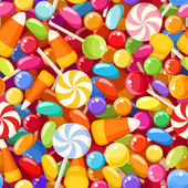 Seamless background with various candies. Vector illustration. — Stock Vector