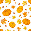Seamless pattern with pumpkins and autumn leaves. Vector illustration. — Stock Vector