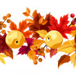 Horizontal seamless background with autumn leaves and apples. Vector illustration. — Stock Vector #34668427