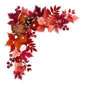 Autumn leaves corner frame. Vector illustration. — Vector de stock