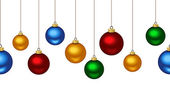 Horizontal seamless background with Christmas balls. Vector illustration. — Stock Vector