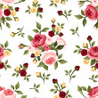 Vintage seamless pattern with roses. Vector illustration. — Stock Vector