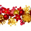 Christmas horizontal seamless background with balls, holly, cones and poinsettia. — Stock Vector