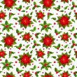 Christmas seamless background with poinsettia and holly. — Stock Vector #35096217