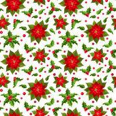 Noel sorunsuz geçmiş yılbaşı çiçeği ve holly ile. — Stok Vektör