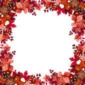 Autumn leaves frame. Vector illustration. — Stock Vector