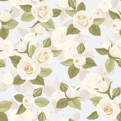 Vector seamless pattern with white roses on blue. — Stock Vector