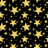 Seamless pattern with gold stars on black. Vector illustration. — Stock Vector