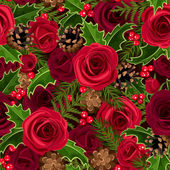 Christmas seamless background with roses and holly. Vector illustration. — Stock Vector