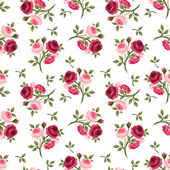 Seamless pattern with red and pink roses. Vector illustration. — Stock Vector