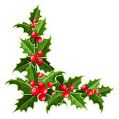 Decorative corner with Christmas holly. Vector illustration. — Stock Vector