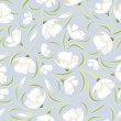 Seamless pattern with white flowers on blue. Vector illustration. — Image vectorielle