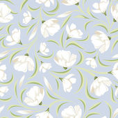 Seamless pattern with white flowers on blue. Vector illustration. — Stockvektor