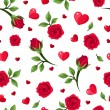 Stock Vector: Vector seamless pattern with red roses and hearts on white.