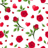Vector seamless pattern with red roses and hearts on white. — Stock Vector