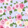 Pink and white roses on blue. Vector seamless pattern. — Stock Vector