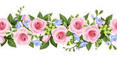 Horizontal seamless background with roses and freesia. Vector illustration. — Stock Vector