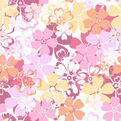 Vector seamless pattern with colorful flowers. — Stock Vector