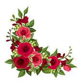 Red roses corner. Vector illustration. — Stock Vector