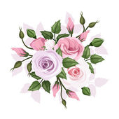 Roses and lisianthus flowers. Vector illustration. — Stock Vector