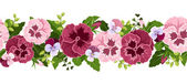 Horizontal seamless background with pansy flowers. Vector illustration. — Stock Vector