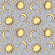 Seamless pattern with suns, moons and stars. Vector illustration. — Stock Vector #43098705