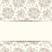 Carta di invito d'epoca con Rose. illustrazione vettoriale. — Vettoriale Stock