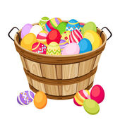 Easter colorful eggs in wooden basket. Vector illustration. — Stock Vector