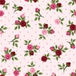 Vintage seamless pattern with red and pink roses. Vector illustration. — Stock Vector #45212321