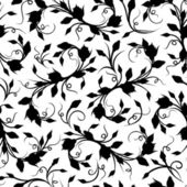 Seamless black floral pattern. Vector illustration. — Stockvector