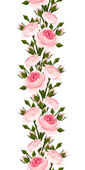 Seamless vertical border with pink roses. Vector illustration. — Stock Vector