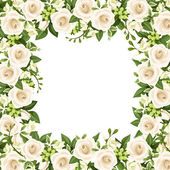 Vector background with white roses and freesia flowers. — Stock Vector
