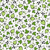 Seamless pattern with green leaves. Vector illustration. — Stock Vector